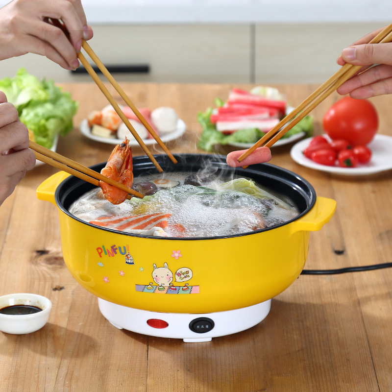 Multifunctional electric cooker MINI heating pan Stainless Steel Hotpot noodles rice Steamer Steamed eggs Soup pot 2L EU US