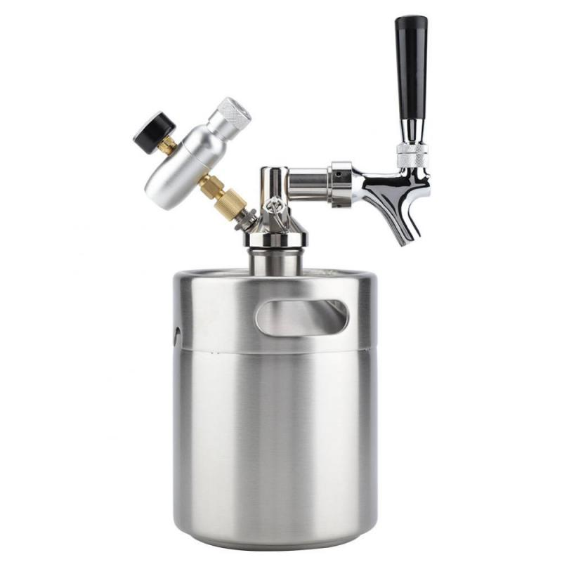 2L Stainless Steel Keg with Faucet Pressurized Brewing Craft Beer Dispenser System for fermenting storing dispensing craft beer