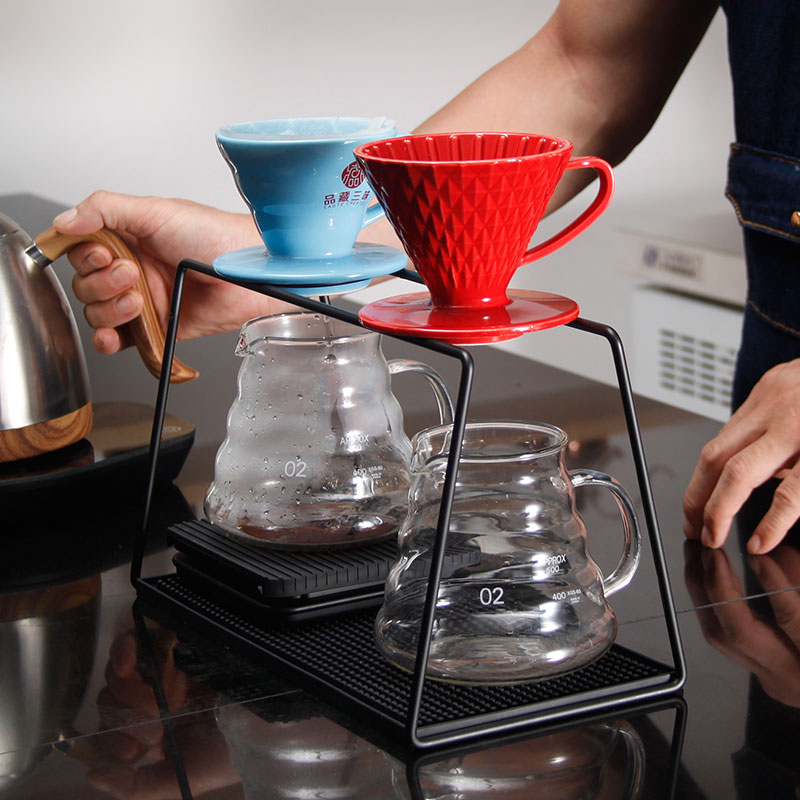 double hole Pour-over coffee steel frame siza/Pour-over coffee steel Frame profile display/stainless steel Dripper Rack