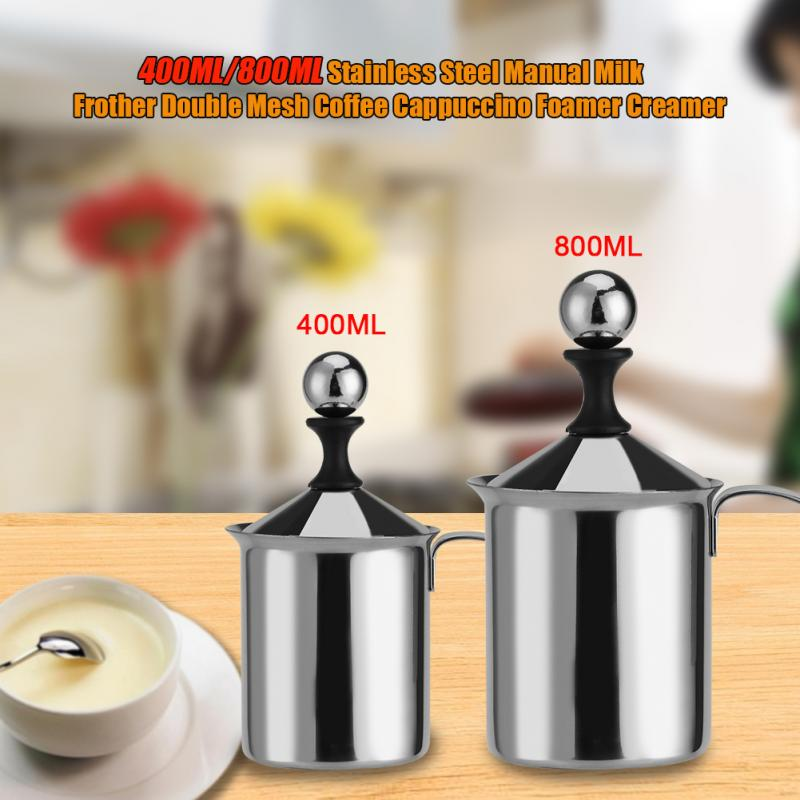 400/800ML Manual Milk Frother Stainless Steel cappuccino Milk Creamer Milk Foam Mesh Coffee Foamer Creamer Kitchen Applicance