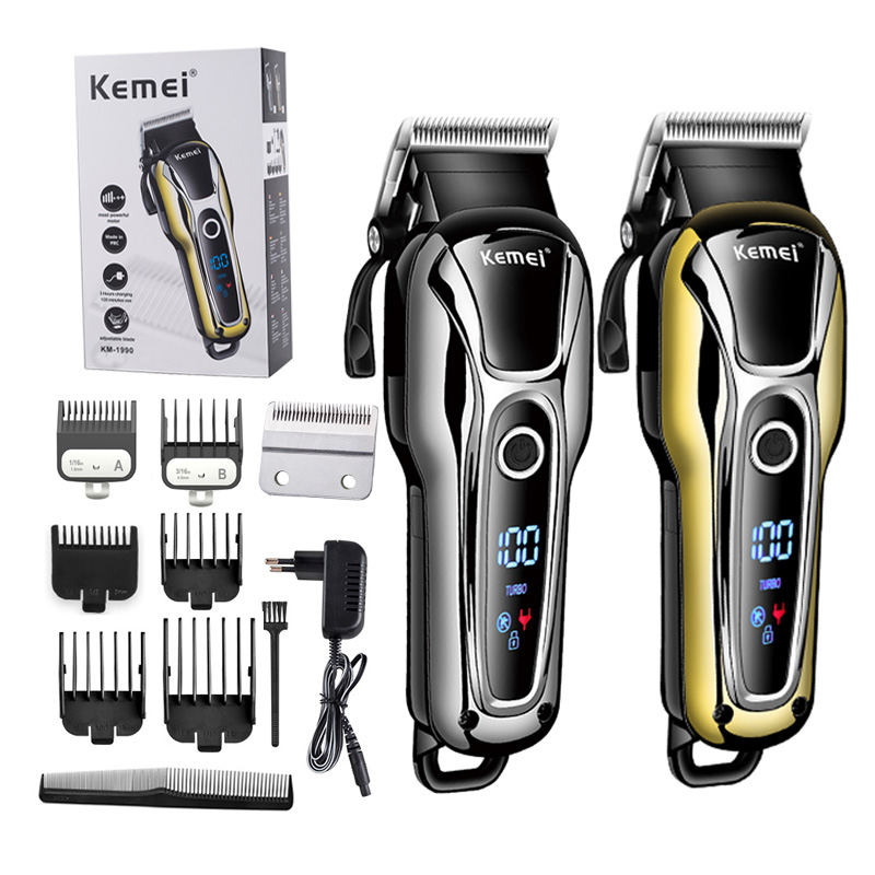 100-240V Kemei Professional Hair Clipper Rechargeable Hair Trimmer Beard Shaving Machine Hair Cutting For Barber