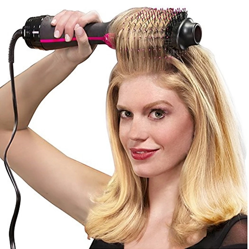 1000W Professional Hair Dryer Brush 2 In 1 Hair Straightener Curler Comb Electric Blow Dryer With Comb Hair Curly Roller Styler