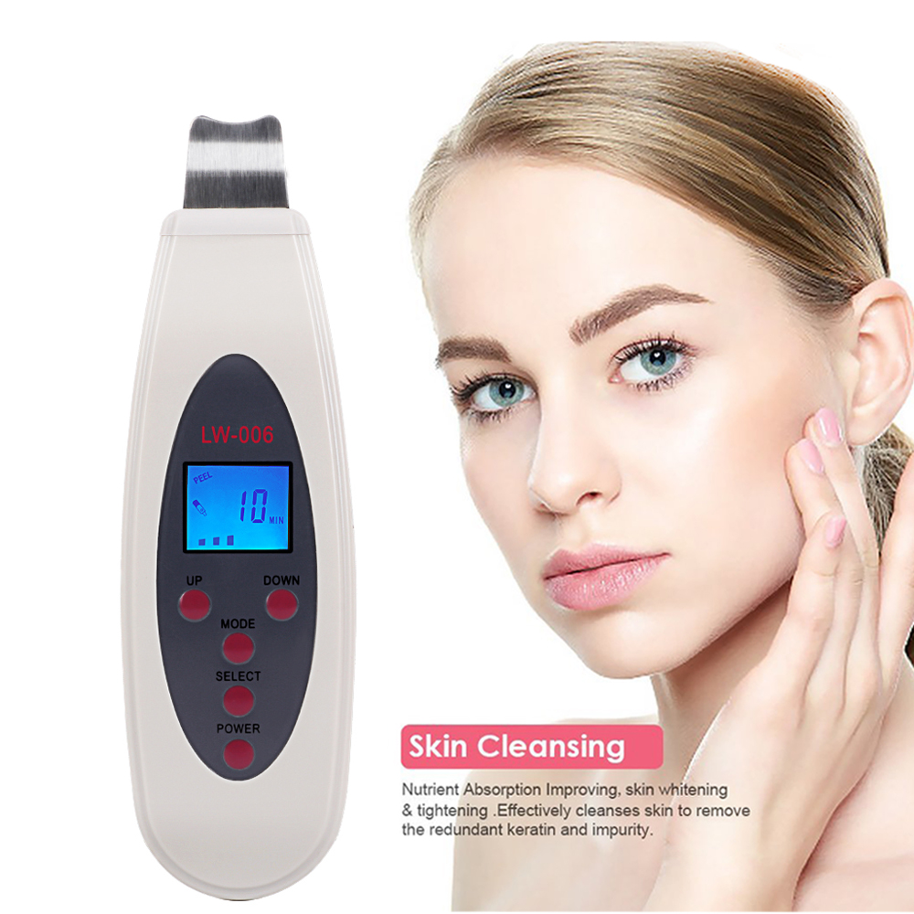 High Quality Ultrasonic Skin Scrubber Cleanser Face Cleaning Acne Removal Galvanic Facial Spa Ultrasound Peeling Clean Tone Lift