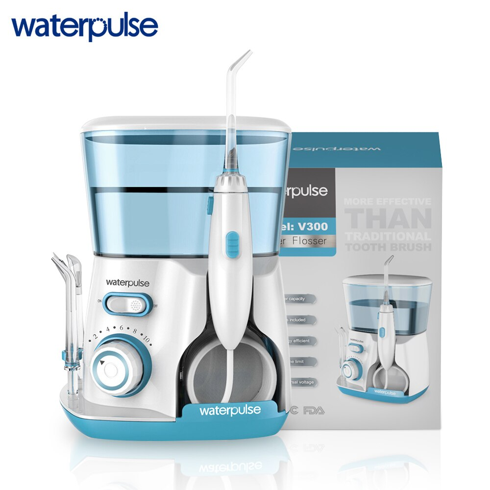 Waterpulse V300G Oral Irrigator 5pcs Tips Dental Water Flosser Electric Cleaner 800ml Oral Hygiene Dental Flosser Water Flossing