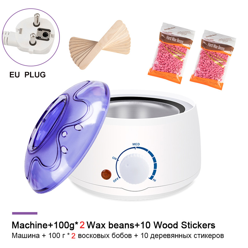 Electric Hair Removal Wax-melt Machine Heater Wax Beans 10pcs Wood Stickers Hair Removal Sets Waxing Kit cera depilatori