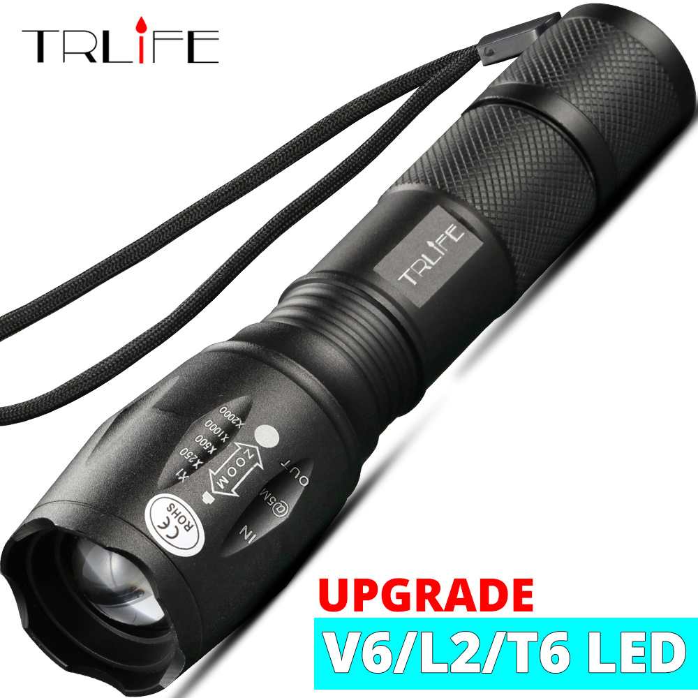 8000LM LED Flashlight Bright Tactical Camping Fishing T6 V6 L2 Rechargeable Torch Waterproof Lanterna Self Defense Use 18650