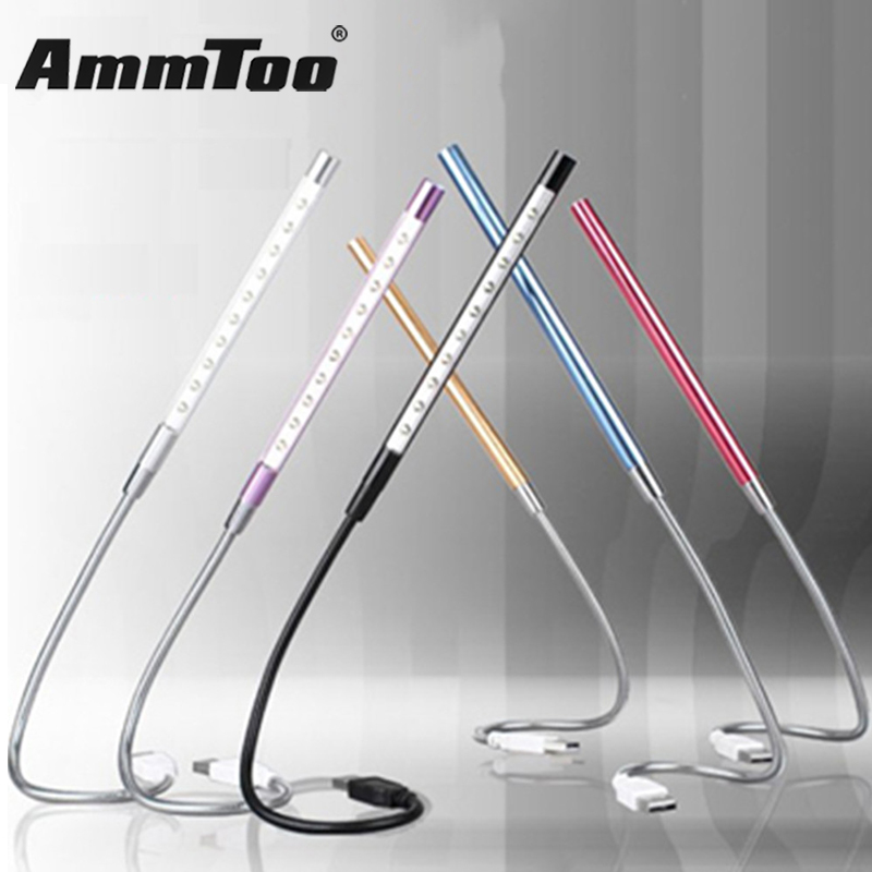 NEW Metal Material USB LED Light Lamp 10LEDs Flexible Book Reading Lights for Notebook Laptop PC Computer 6 Colors