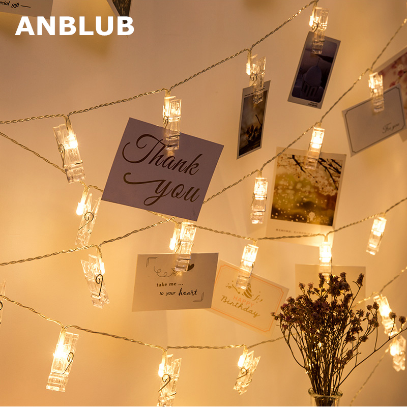 ANBLUB 1.5M 2M 3M Photo Clip Holder LED String lights For Christmas New Year Party Wedding Home Decoration Fairy lights Battery