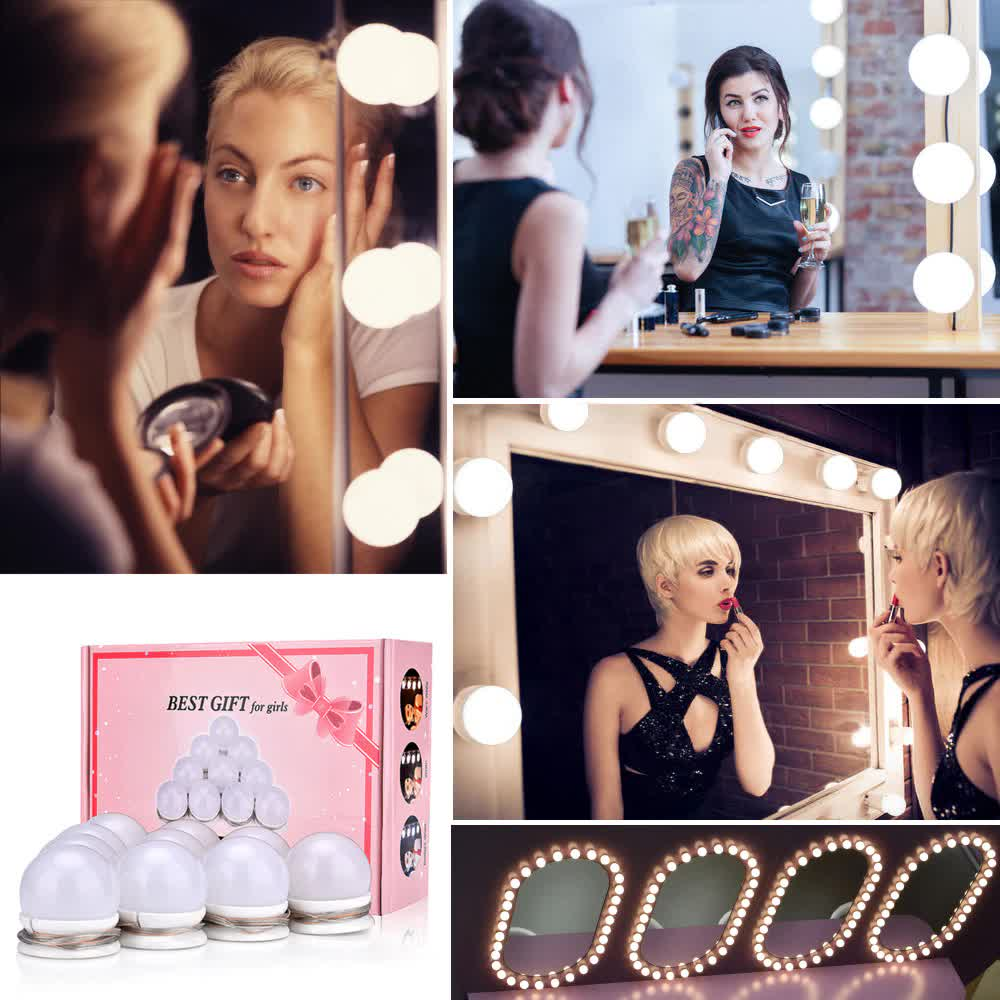 Led Vanity Mirror Makeup Light Bulbs Kit 30 Kinds of Brightness Hollywood Dressing Table Cosmetics Dimmable Wall Lamp 10 Bulbs