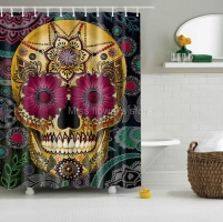 Cartoon Colored Skull Design Custom Shower Curtain Bathroom Waterproof Mildewproof Polyester Fabric With 12 Hooks Multi Size